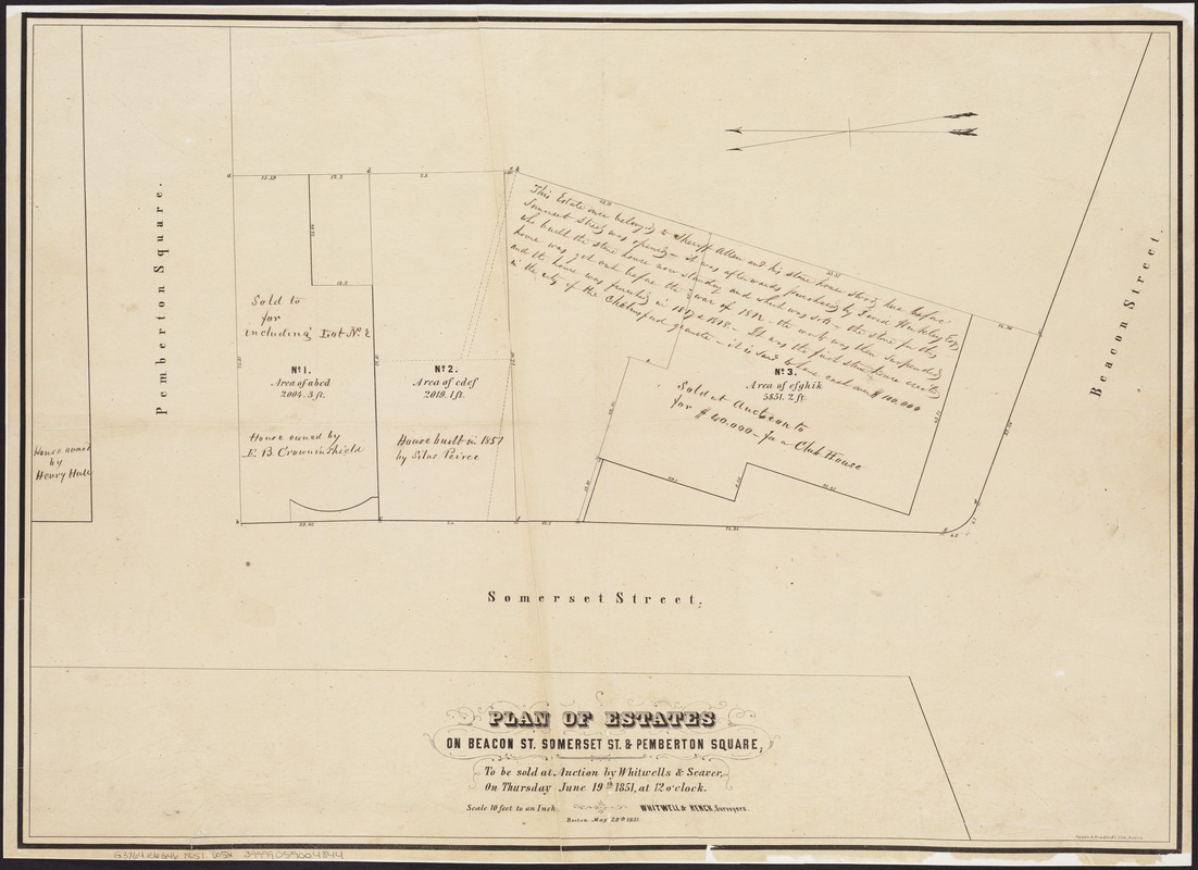 Plan of estates on Beacon St., Somerset St. & Pemberton Square