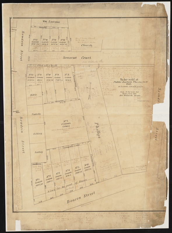 [Plan of lots on Beacon Street and Somerset Court, Boston]