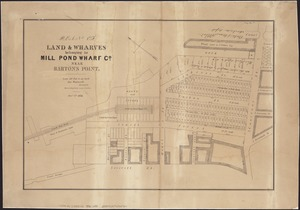 Plan of land & wharves belonging to Mill Pond Wharf Co. near Bartons Point