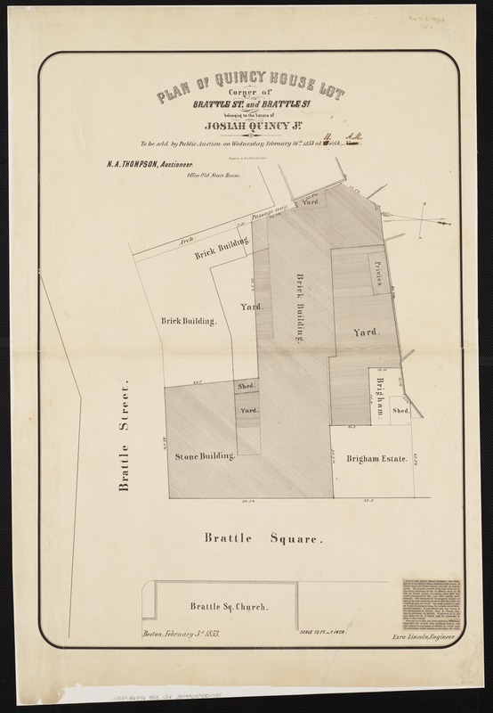 Plan of Quincy House lot, corner of Brattle St. and Brattle Sq. belonging to the estate of Josiah Quincy Jr