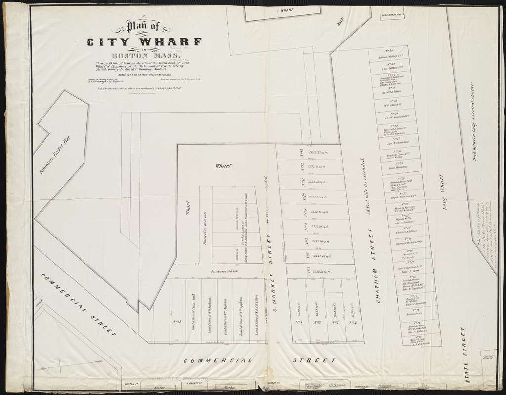 Plan of City Wharf in Boston, Mass