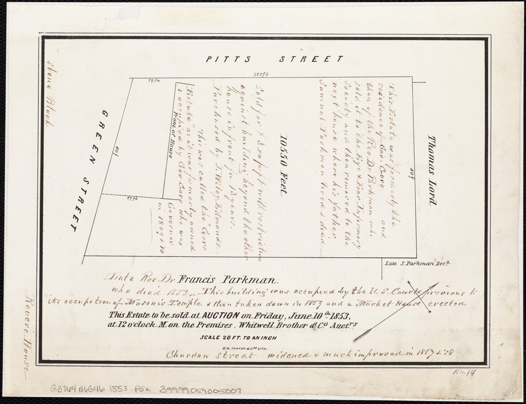 [Plan of the Gore Estate at the corner of Pitts and Green streets]