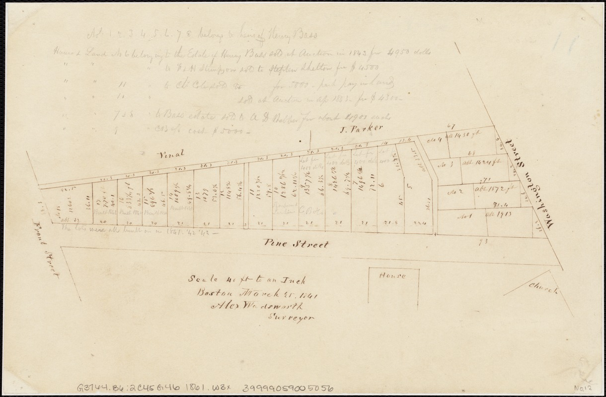 [Plan of lots on Pine Street, Boston, between Washington and Front Streets]
