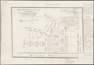 [Plan of lots for sale on Morton and Milk Streets, Boston]