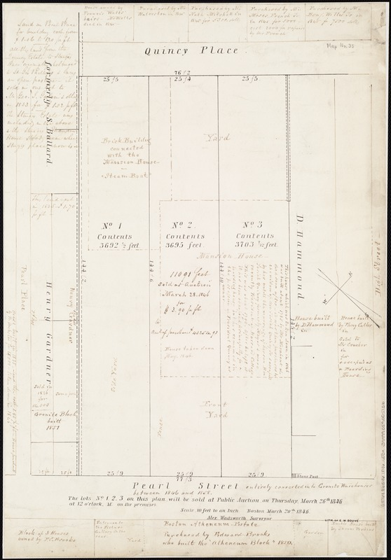 [Plan of lots for sale on Pearl Street in Boston]