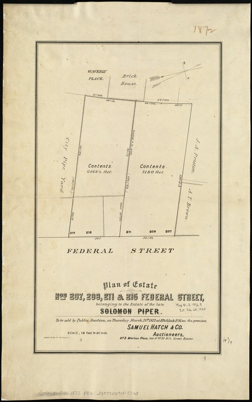 Plan of estate nos 207, 209, 211 & 215 Federal Street, belonging to the estate of the late Solomon Piper