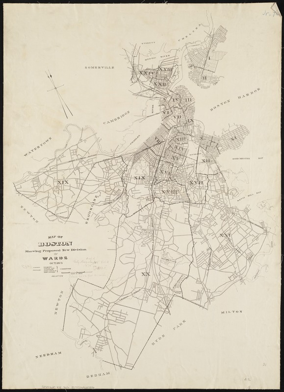 Map of Boston showing proposed new division of wards Oct. 1875
