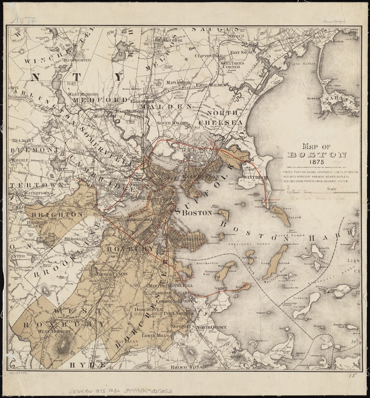 Map of Boston 1875