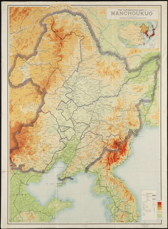 The topographic map of Manchoukuo - Norman B. Leventhal Map ... on gobi desert map, qing dynasty, second sino-japanese war, shenyang map, great wall of china, nanking massacre, japanese invasion of manchuria, nicaragua map, hainan map, new guinea map, sakhalin map, austria map, great wall map, empire of japan, sweden map, asia map, ming dynasty, kazakhstan map, xinjiang map, russo-japanese war, angola map, china map, pakistan map, formosa map, beijing map, abyssinia map, inner mongolia, first sino-japanese war, pearl harbor map, persia map,