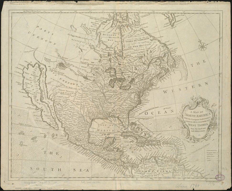 A map of North America, with the European settlements & whatever else is remarkable in ye West Indies, from the latest and best observations