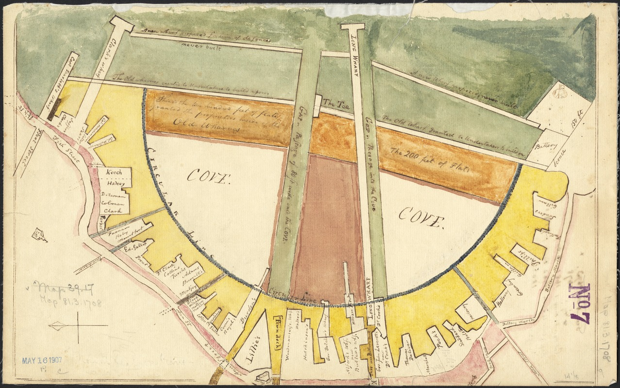 """[Plan showing wharves of Boston from Batterymarch Street to Fleet Street and """"the circular line"""" Barricado, with the south, middle and north gaps]"""