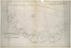 "[Plan showing wharves of Boston from Batterymarch Street to Fleet Street; the ""circular line"" limit of wharves; and the Barricado, with gaps]"