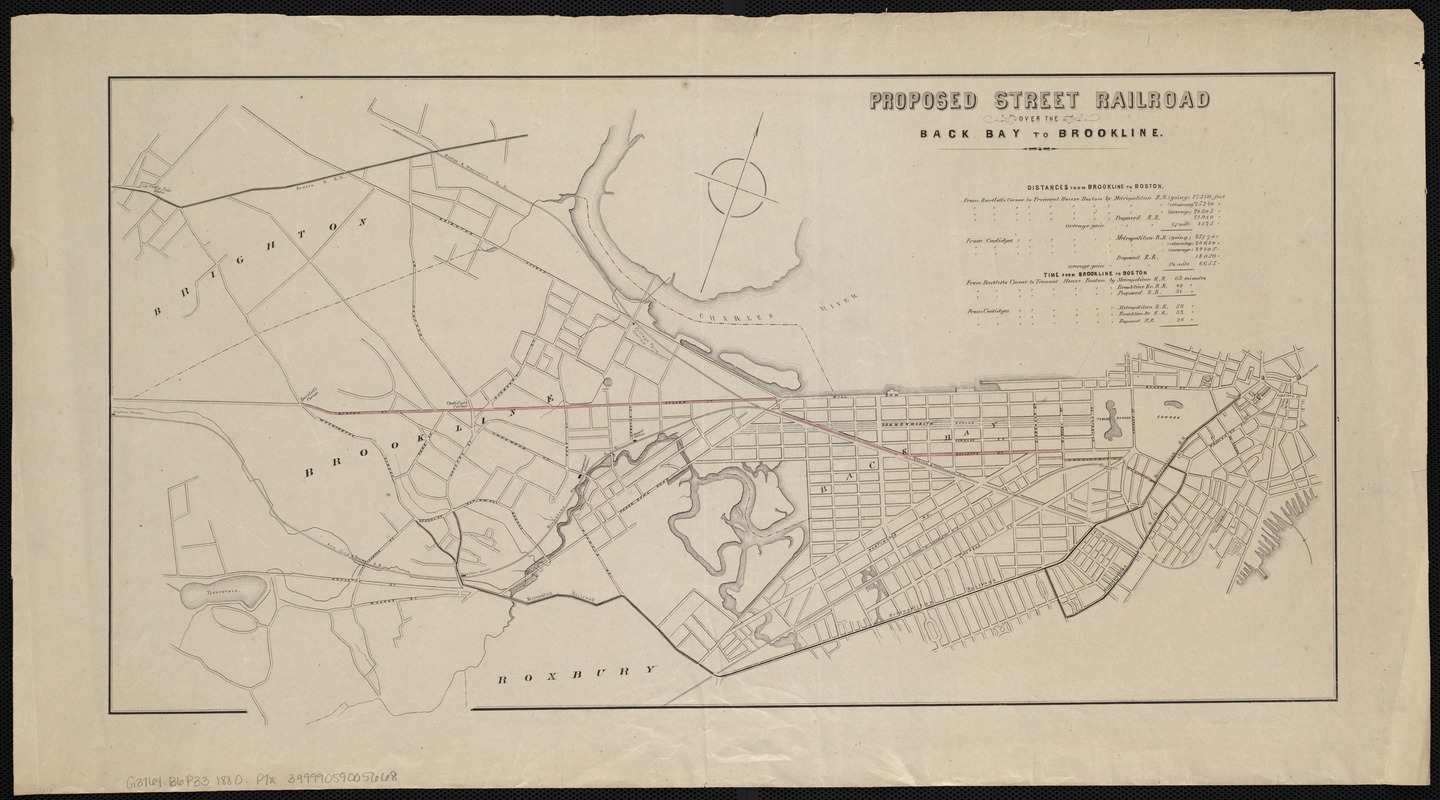 Proposed street railroad over the Back Bay to Brookline