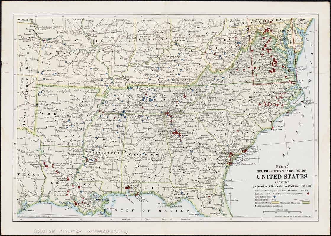 Map Of Southeastern Portion Of United States Showing The Location - Us map of civil war battles