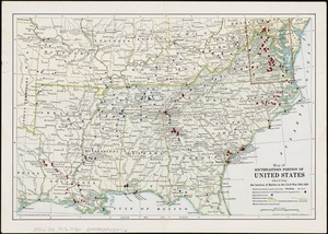 Map of southeastern portion of United States showing the location of battles in the Civil War 1861-1865