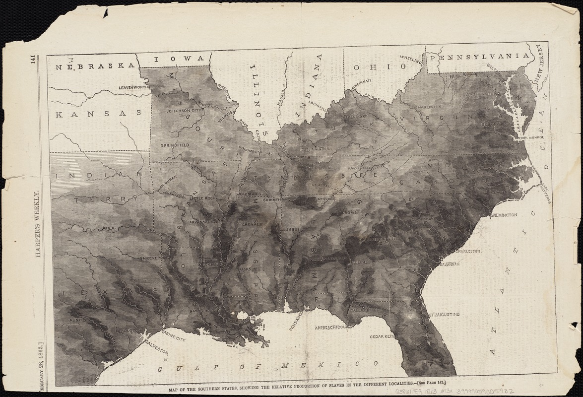 Map of the Southern States, showing the relative proportion of slaves in the different localities