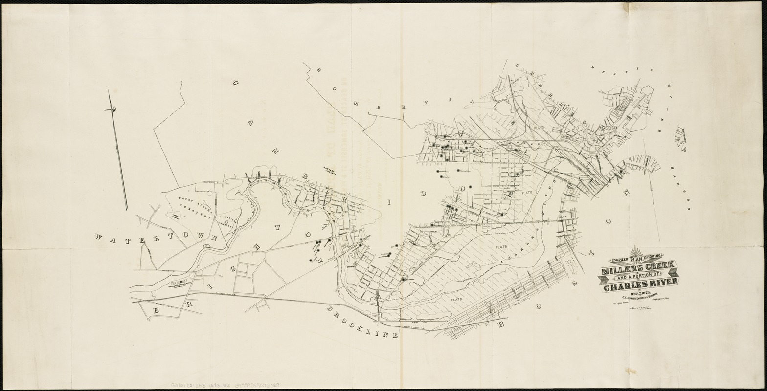 Compiled plan, showing Millers Creek and a portion of Charles River