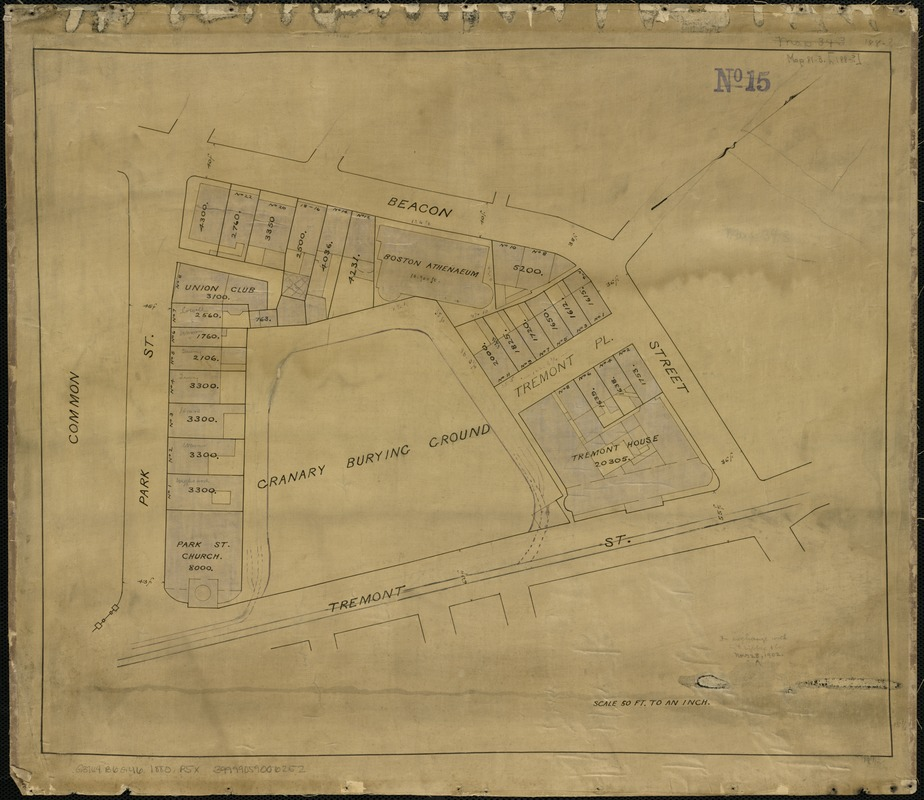 [Plan of lots on Park, Beacon and Tremont Streets in Boston]