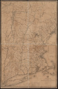 Post route map of the states of New Hampshire, Vermont, Massachusetts, Rhode Island, Connecticut, and parts of New York and Maine