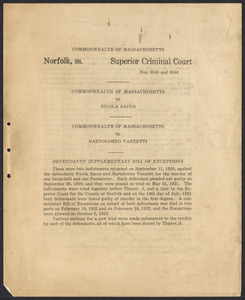 Sacco-Vanzetti Case Records, 1920-1928. Defense Papers. Defendants' Supplementary Bill of Exceptions, n.d. Box 17, Folder 7, Harvard Law School Library, Historical & Special Collections