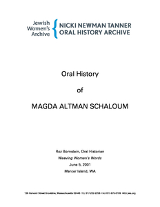 Oral history of Magda Schaloum, 2001 June 05