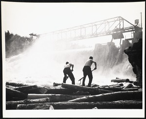 Breaking up log jam - Maine