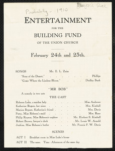 Announcement for entertainment for the building fund of the Union Church