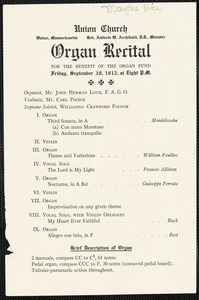 Announcement of organ recital at Union Church September 20, 1912