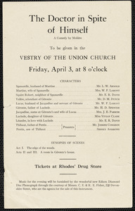 "Announcement of a performance of Moliere's play ""The doctor in spite of himself"" to be given in vestry of the Union Church on Friday April 3, 1914"