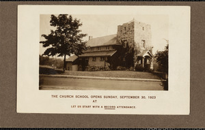 Announcement for the opening of church school September 1923