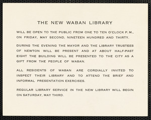 Announcement of the opening of the new Waban Library with a reception scheduled for May 2nd, 1930