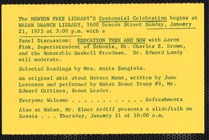 Announcement of Centennial Celebration events to be held at the Waban Branch Library