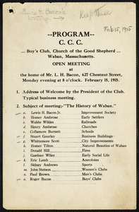 C.C.C. meeting program on the history of Waban, February 15, 1915