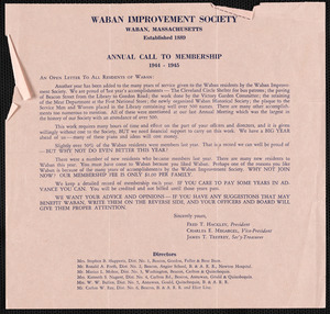 Annual call to membership, 1944-1945