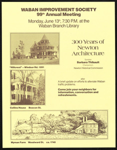 Announcement of Waban Improvement Society 99th annual meeting