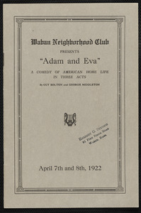"""Adam and Eva"" presented by the Waban Neighborhood Club on April 7th and 8th, 1922"