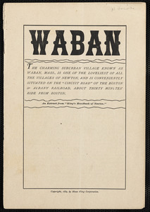 """Waban, a chapter reprint from """"King's Handbook of Newton"""""""