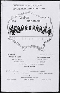 Program for Waban Minstrels, 1894