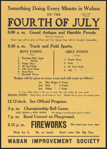 Poster advertising Waban Fourth of July
