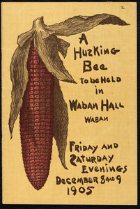 """A husking bee"" to be performed December 8 and 9, 1905 and given for the benefit of the Church of the Good Shepherd"