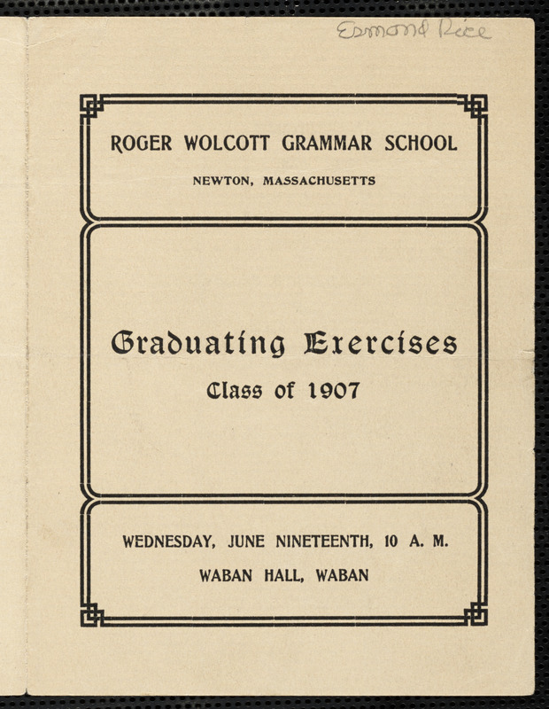 Graduation Program For The Class Of  At The Roger Wolcott School