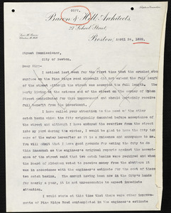 Draft of a letter written April 24, 1899 to be sent from Lewis Bacon to the City of Newton Street Commissioner