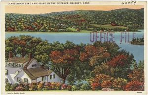 Candlewood Lake and island in the distance, Danbury, Conn.