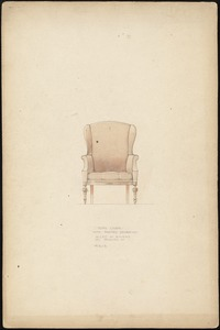 Wing chair with painted decoration