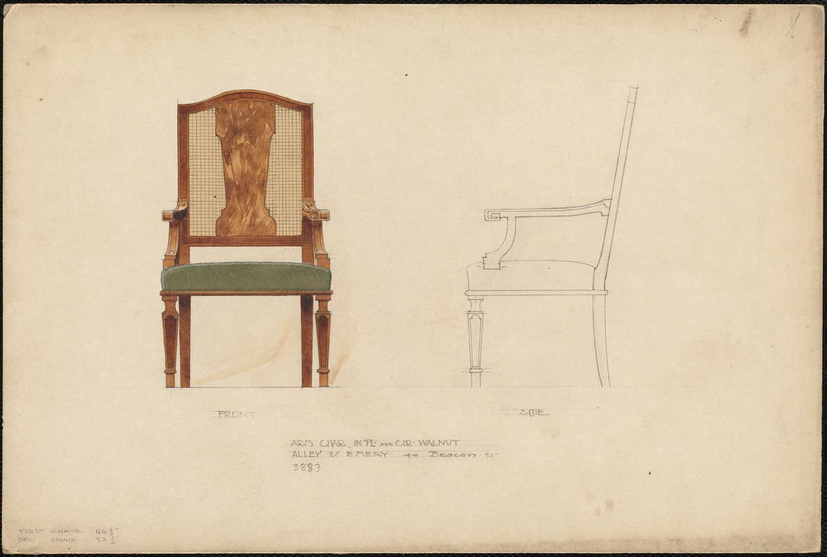 Arm chair in pl. and cir. walnut