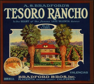 A. S. Bradford's Tesoro Rancho: In the heart of the famous Late Valencia district, Blue Label Valencias, Bradford Bros., Inc., Placentia, California, Orange County