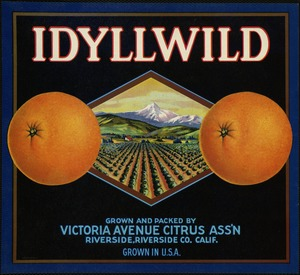 Idyllwild: Grown and packed by Victoria Avenue Citrus Ass'n, Riverside, Riverside Co. Calif., grown in U.S.A.