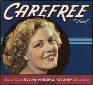 Carefree Brand: Packed and shipped by Redlands Orangedale Association, Redlands, California, grown in U. S. A.