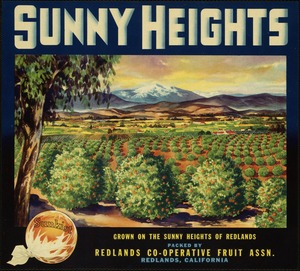 Sunny Heights: Grown in the sunny heights of Redlands, packed by Redlands Co-operative Fruit Assn., Redlands, California