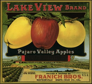 Lake View Brand: Pajaro Valley apples, packed & shipped by Franich Bros., Watsonville, Santa Cruz Co., Cal.